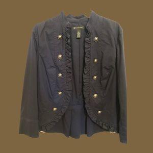 Gold Button Black Frill Jacket